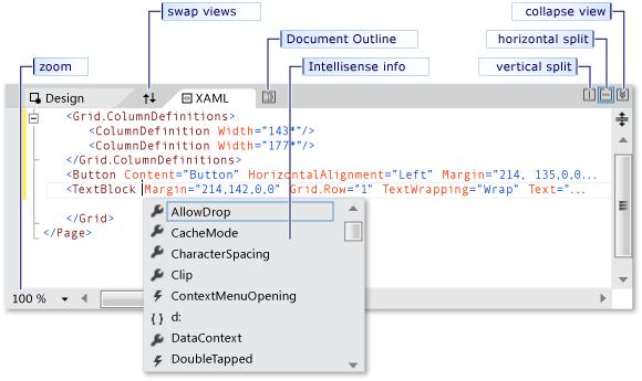 محیط کد WPF